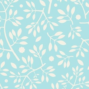 Blenheim stems/cream on blue