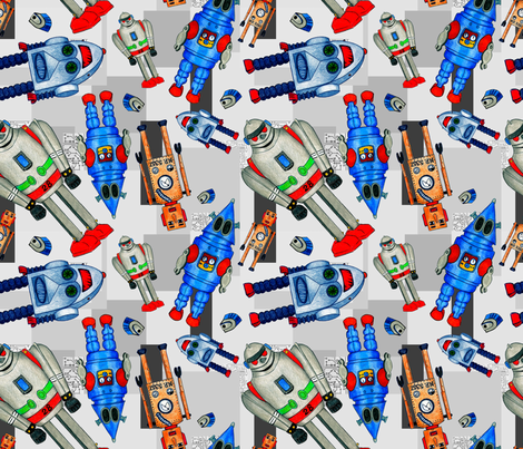 Tin Robot Technology Soup fabric by crafty_bug_lady on Spoonflower - custom fabric