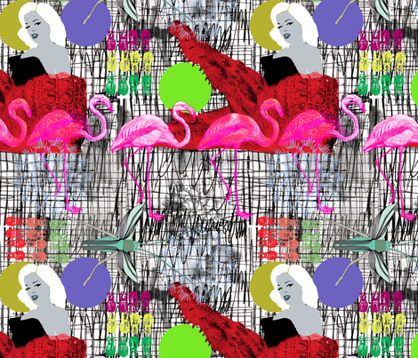 The lady and  the crocodile head fabric by susiprint on Spoonflower - custom fabric