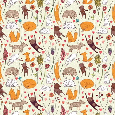 cute animals seamless pattern fabric by apolinarias on Spoonflower - custom fabric