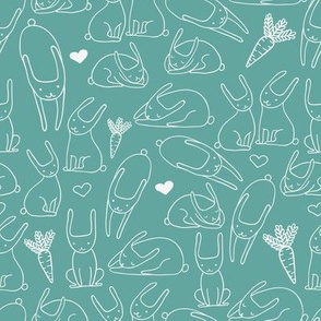 bunnies blue seamless pattern