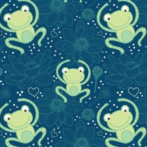 happy frog seamless pattern