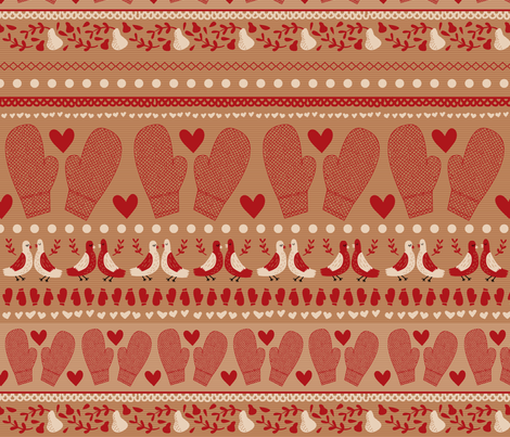 Mittens and turtle doves fabric by laurawrightstudio on Spoonflower - custom fabric