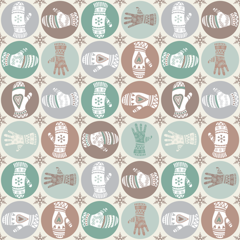 Many mittens - cookie colours fabric by ebygomm on Spoonflower - custom fabric