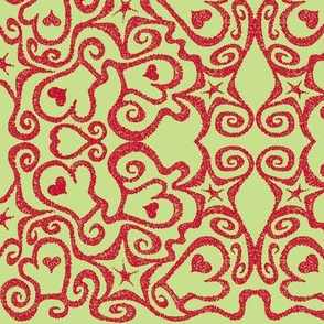Ditsy Mittens, light green/dark red