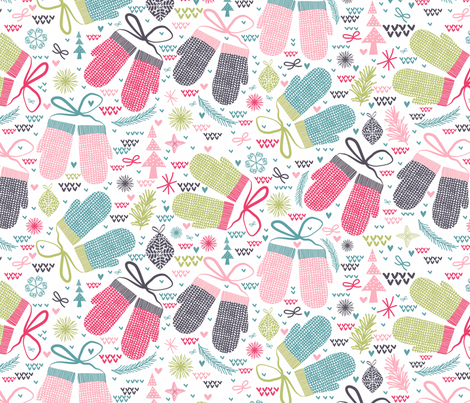 Winter & Mittens fabric by demigoutte on Spoonflower - custom fabric