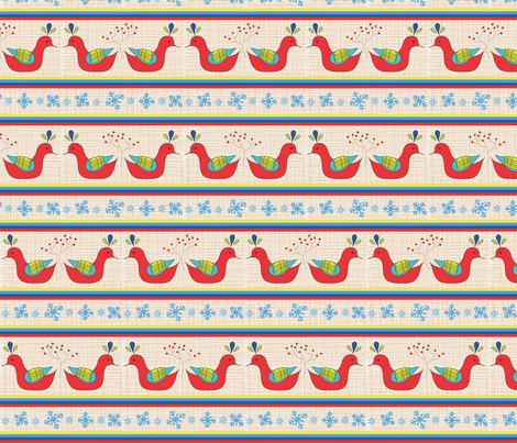 Holiday Kissing Birds with berries fabric by vanillabeandesigns on Spoonflower - custom fabric