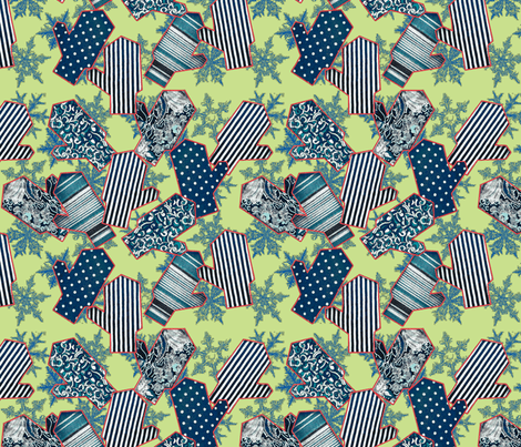 snowflakes & mittens, longing for spring green fabric by ms_majabird on Spoonflower - custom fabric