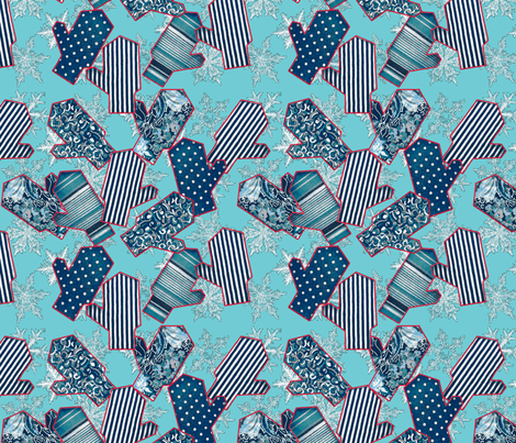 snowflakes & mittens, frosty ice blue fabric by ms_majabird on Spoonflower - custom fabric