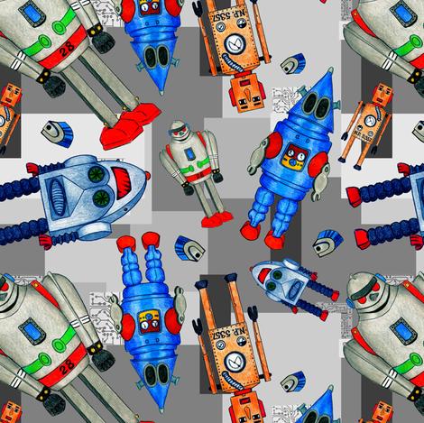 Nano Tin Robot Technology Dark Grey fabric by crafty_bug_lady on Spoonflower - custom fabric