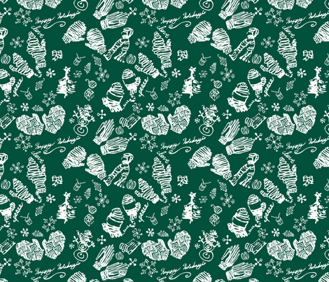Ditsy Mitts green fabric by craftonista on Spoonflower - custom fabric