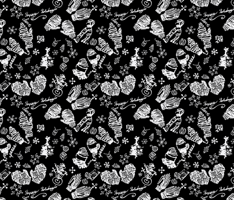 Ditsy Mitts-black fabric by craftonista on Spoonflower - custom fabric