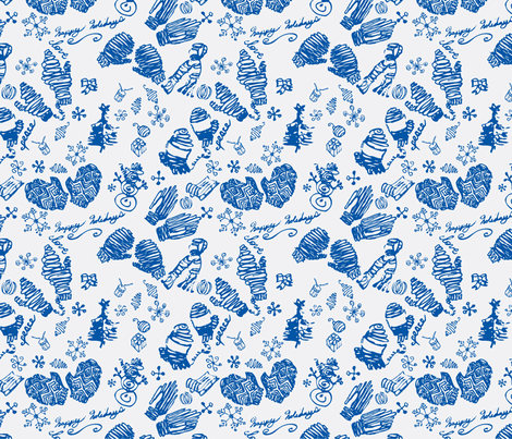 Ditsy Mitts-blue fabric by craftonista on Spoonflower - custom fabric