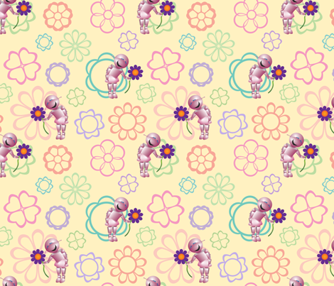 Robot and Her Flower fabric by katherine-appleby on Spoonflower - custom fabric