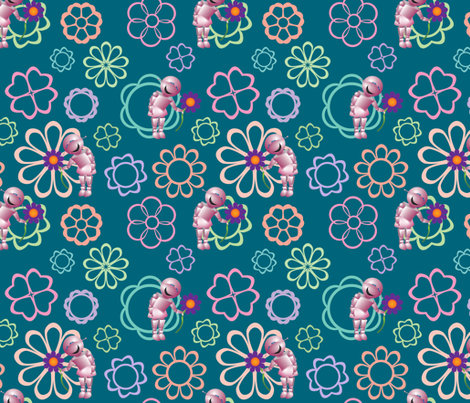 Robot and Her Flower 2 fabric by katherine-appleby on Spoonflower - custom fabric