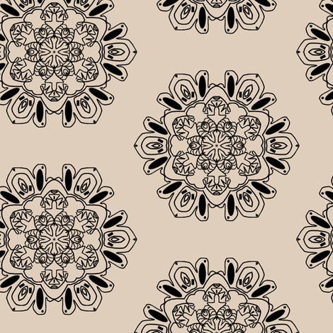 Snowflakes in Black and Tan fabric by captiveinflorida on Spoonflower - custom fabric