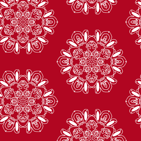Snowflakes in Red fabric by captiveinflorida on Spoonflower - custom fabric