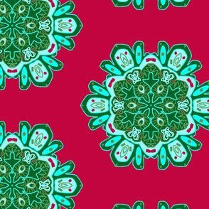 Snowflakes in Red and Green