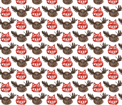 Fox & Moose fabric by larsdotter on Spoonflower - custom fabric