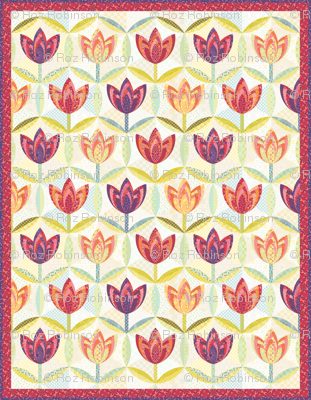 hexagon block tulip cheater quilt - 2 yard (twin) - 56 inch wide