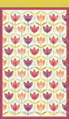 hexagon block tulip cheater quilt - twin bed