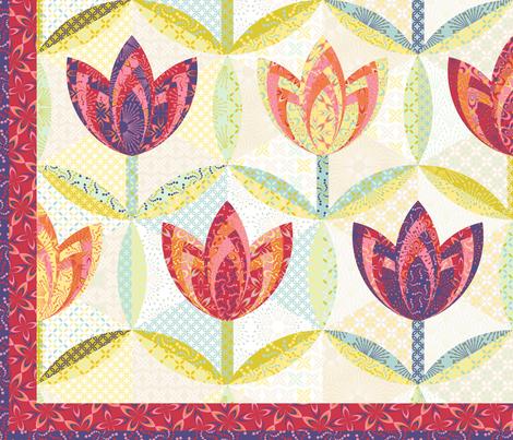 hexagon block tulip cheater quilt - twin bed fabric by coggon_(roz_robinson) on Spoonflower - custom fabric