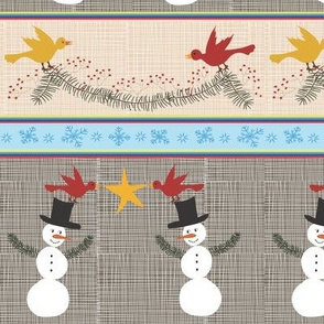 Jolly Snowman with Birds and Garlands