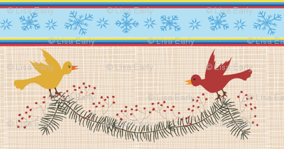 Birds and berries evergreen swag