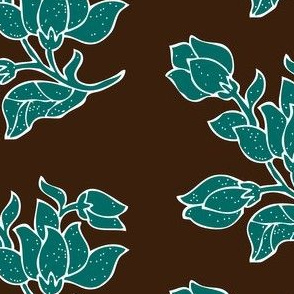Vector sm batik flower - bluegreen and brown