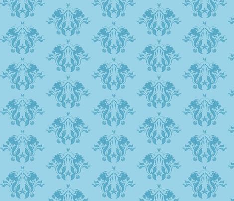 Mermaids - blue tone on tone fabric by sugarpinedesign on Spoonflower - custom fabric