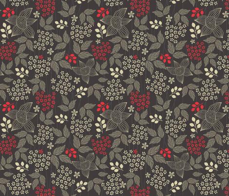 flowers on black fabric by anastasiia-ku on Spoonflower - custom fabric