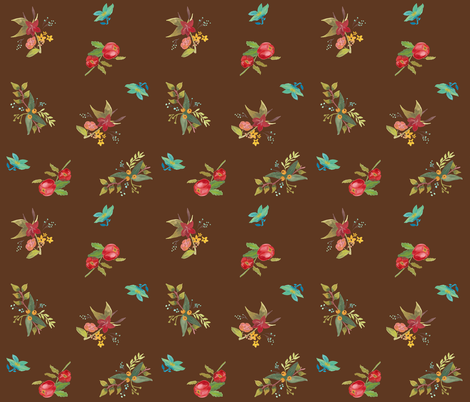 Flowers on Brown fabric by chelsmarie on Spoonflower - custom fabric
