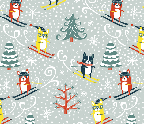 Boston Terrier Slopes fabric by annewashere on Spoonflower - custom fabric