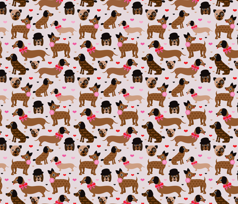 Hipster geek dogs for girls fabric by littlesmilemakers on Spoonflower - custom fabric