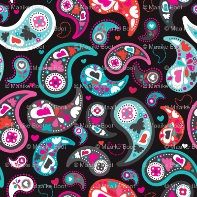 Colorful modern indian paisley pattern