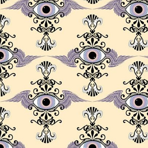 Winged Eye Damask, light