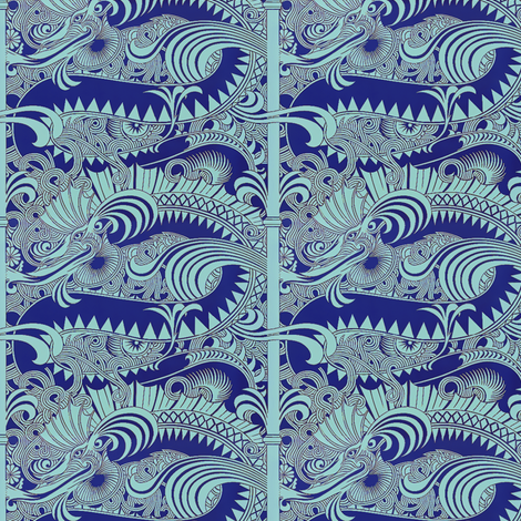 Dragons in blue fabric by nlsd on Spoonflower - custom fabric