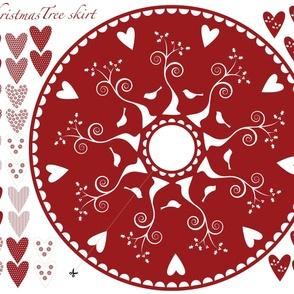 Christmas Tree Skirt and hearts garland