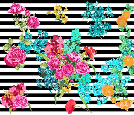 Floral Bouquet On Black Stripe Wallpaper Katarina