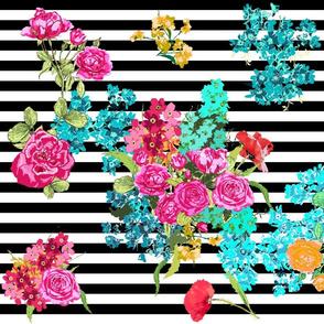 floral bouquet on black stripe