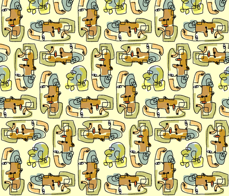 face scribble fabric by kimmurton on Spoonflower - custom fabric