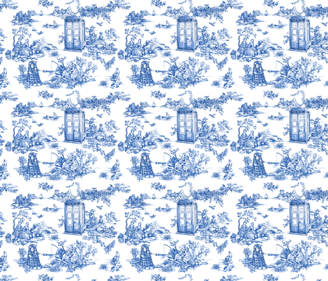 toile de jouy blue police boxes fabric debi birkin spoonflower. Black Bedroom Furniture Sets. Home Design Ideas