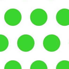 Polka Dot - Green on White XL