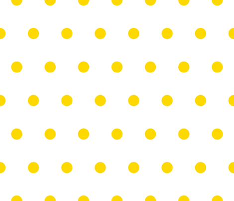 Polka Dot - Yellow on White fabric - juliesfabrics - Spoonflower