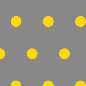 Polka Dot - Yellow on Gray