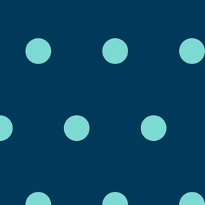 Polka Dot - Aqua on Navy