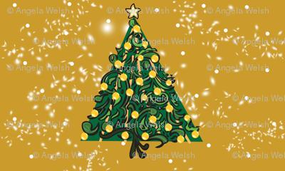 Christmas Tree on Mustard PANEL