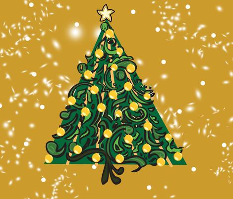 Christmas Tree on Mustard PANEL fabric by pange on Spoonflower - custom fabric