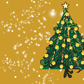 Christmas Tree on Mustard PANEL