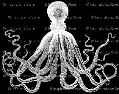 Black Vintage Kraken Octopus pattern